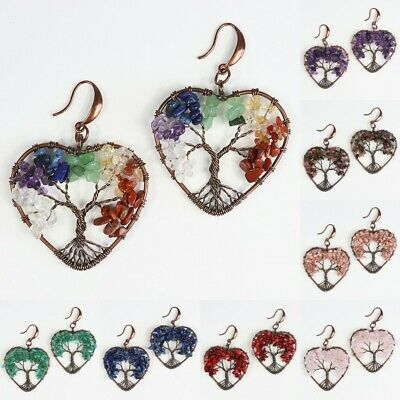 Amethyst Rose Quartz Chip Beads Chakra Tree of Life Heart Hook Dangle Earrings