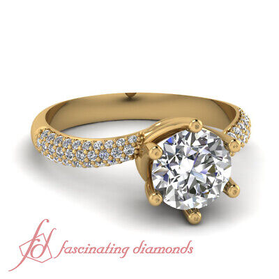 Round Cut Swirl Head Pave Set Diamond Engagement Ring in Yellow Gold GIA 0.70 Ct