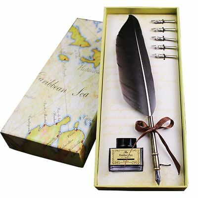 Quill Pen And Ink Goose Feather Luxury Antique Writing Quill Pen Set without Ink ()