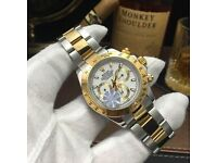 Rolex Daytona With White Face And TwoTone Strap Comes Rilex Bagged and Boxed With paperwork
