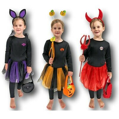 Mädchen Fledermaus Kürbis Fairy Teufel Tutu Halloween Kostüm Kleinkind 3-5 (Kleinkind Halloween Tutu Kostüm)