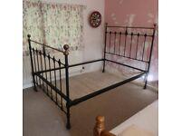 Original Antique Victorian Cast Iron Double Bed