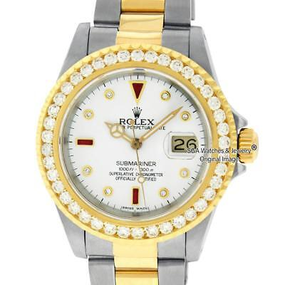 Rolex Mens Submariner Watch 16613 SS & 18K Yellow Gold White Diamond & Ruby Dial