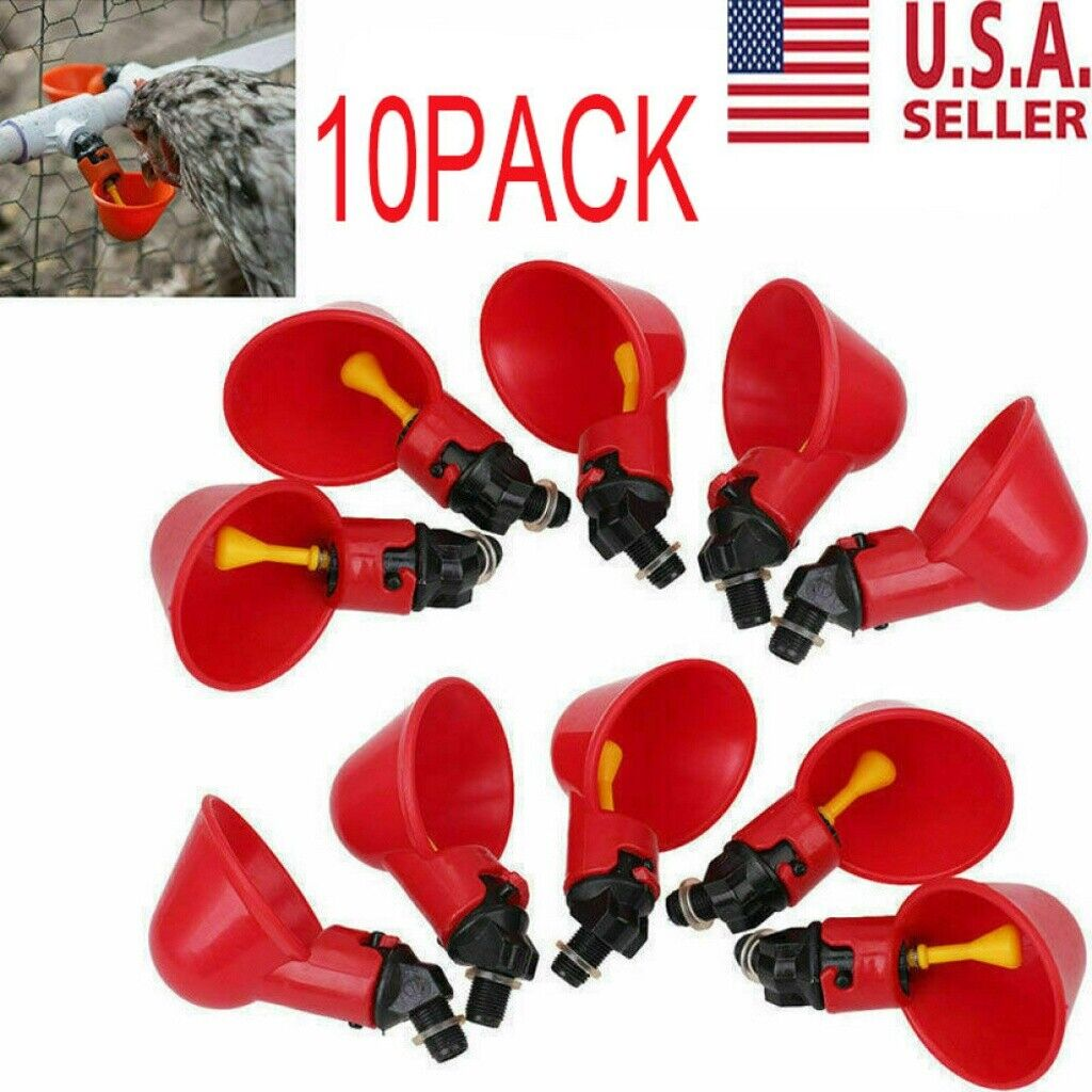 Chicken Hen Plastic Automatic Drinker 10 Pack Poultry Water Drinking Cups