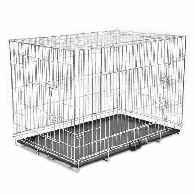 Dog Crate 2/3 Doors w/Tray Fold Metal Pet Cage Kennel House 30
