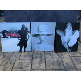 X3 Black & white canvas pictures