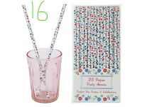 4 X Packs Of 25 Vintage Style Forget Me Not Floral Paper Straws.