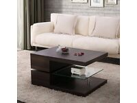 COFFEE TABLE BRAND NEW MECOR MODERN DESIGN COFFEE TABLE WITH GLASS SWIVEL