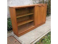Retro Teak Long Slim Bookcase/Cabinet c1970s
