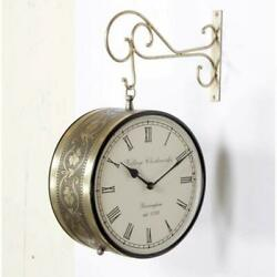 Vintage Double Sided Railway Station Copper Antique Victorian Royal Wall Clock