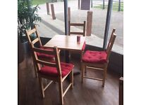 Pine table (small) with four wooden chairs free delivery Bristol area