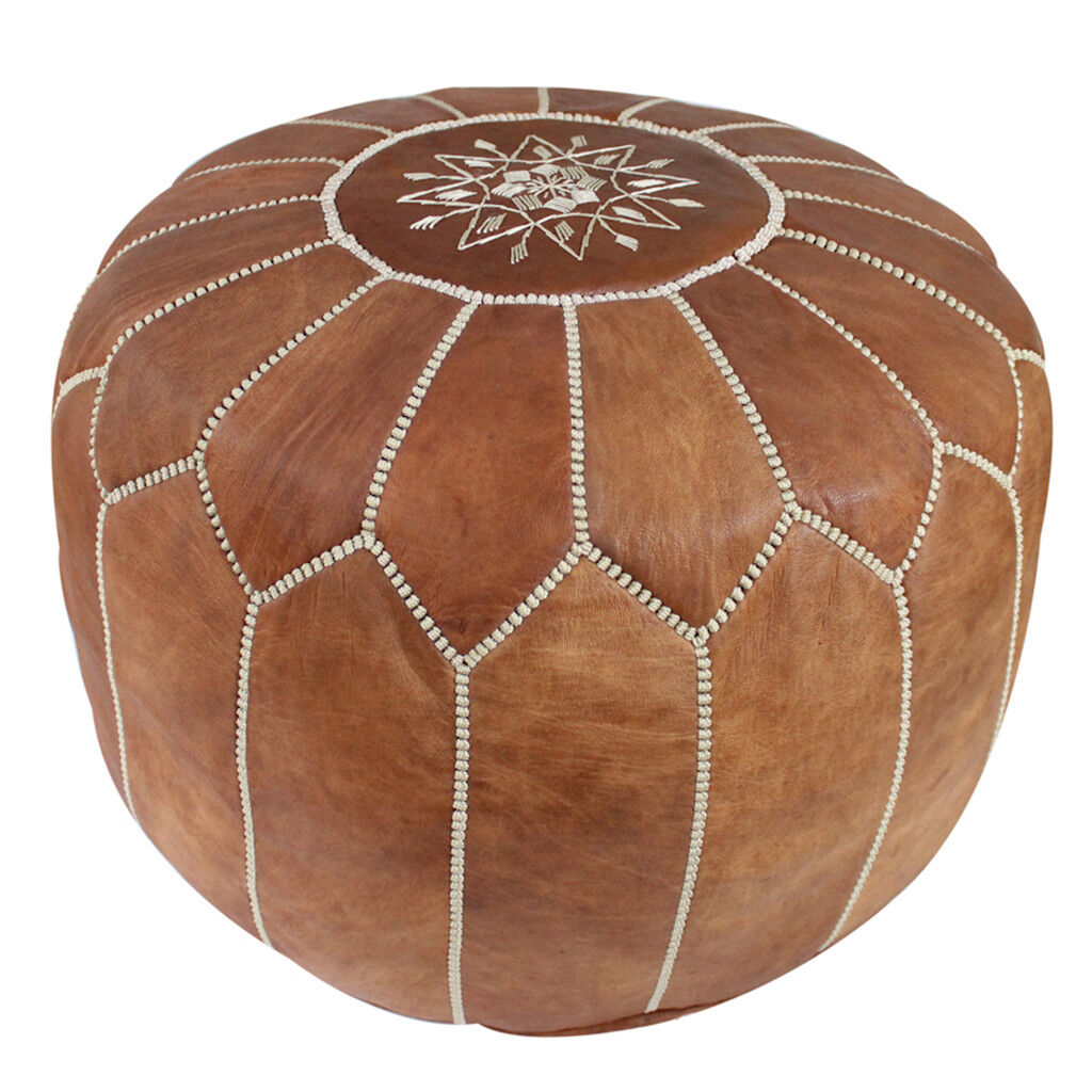 moroccan genuine leather pouf,... Image 1