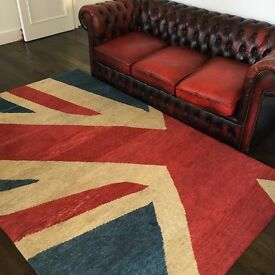 Union Jack Hand Knotted Wool Rug