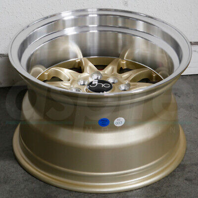15x9 Gold Machine Lip Wheels JNC 003 JNC003 4x100/4x114.3 0 (Set of 4)