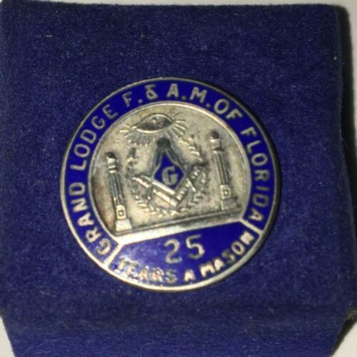 STERLING Grand Lodge FLORIDA MASONIC Lapel Pin FREEMASON Vintage Mason Tie Tac