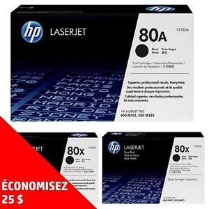 Cartouches de toner d'origine HP80A/X – Achetez directement de HP et économisez! Achetez-en deux, obtenez 25$ de rabais