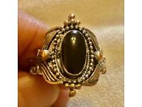 Vintage Black Onyx / Tourmaline / Obsidian ? Oval Intricate Ring Ornate Size Q