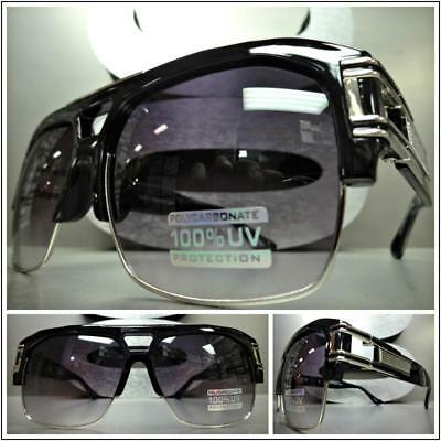 OVERSIZED RETRO HIP HOP RAPPER Style SUNGLASSES Black Silver Frame For Big (Sunglasses Hip Hop Style)
