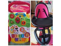 Ickle bubba highchair feeding chair pink on black plus baby toy