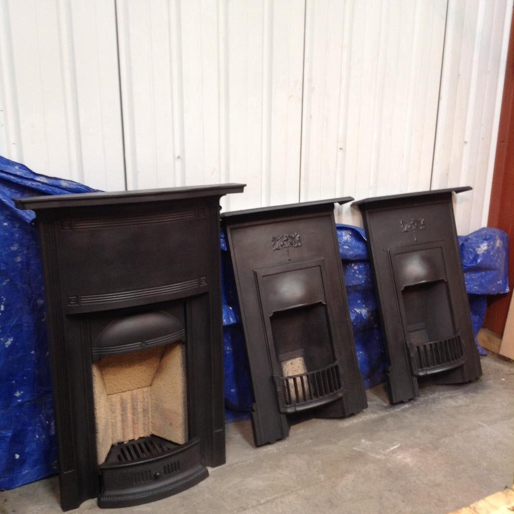 2 x art nouveau cast iron fireplaces and 1 art deco cast iron