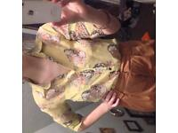 Yellow floral skull shirt Medium