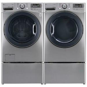 LG WM3770HVA 27 Front Load Washer With 5.2 cu.ft. And DLEX3570V  Front-Load Electric Steam Dryer Pair Sale