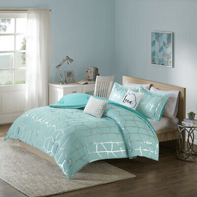 MODERN TEAL BLUE LIGHT AQUA MODERN CHEVRON STRIPE GIRL DUVET COVER SET & PILLOWS ()