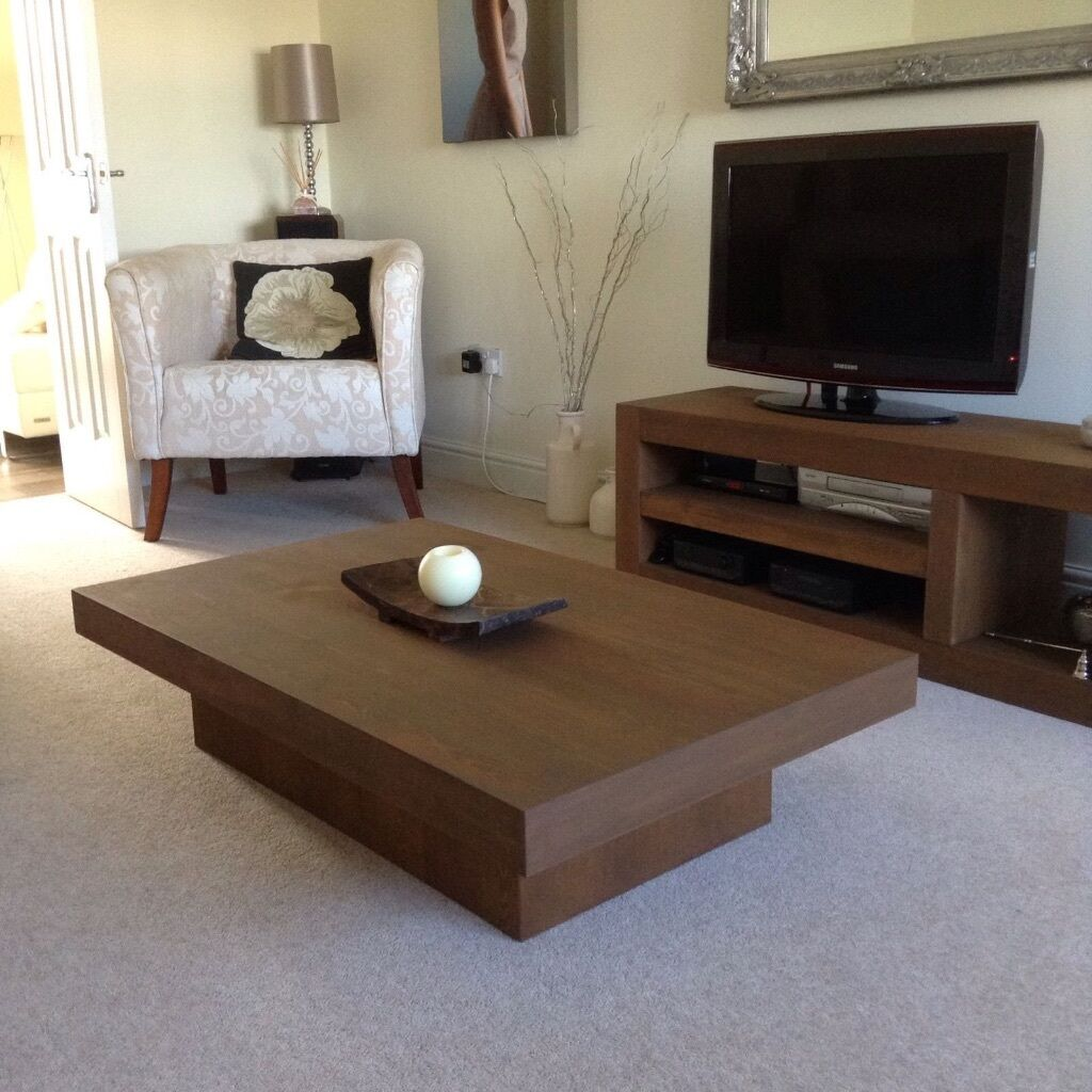 NEXT Delamere Modern Chunky Wood Rustic Rectangular Coffee Table