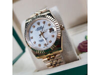 Rossco's Watches. Rolex Datejust Gold Jubile White Pearl Face with Diamonds. New, Boxed with Papers