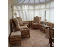 Quality Cane Conservatory Suite. Includes two seater, two single chairs and footstool.