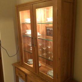 Oak Dresser/Sideboard, internal lighting and glass shelves