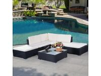 Costway UK 6PC Rattan Outdoor Garden Furniture Patio Corner Sofa Set PE Wicker Steel Fram