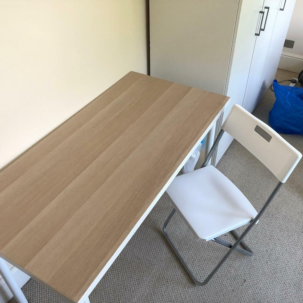 Ikea Linnmon White Oak Stained Effect Wood Table Top With Chair Good Condition