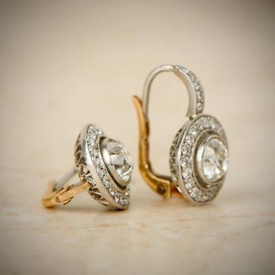 Antique Vintage Art Deco 14K White Gold Over 2.0Ctw Diamond Halo Earrings 1920's