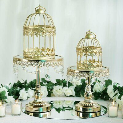 Gold 2 Metallic Bird Mini Cages Wedding Card Holder Centerpieces Birthday -