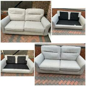 Harveys beige 2x2 seater fabric sofas in very good condition