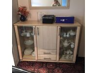 Pine display cabinet and matching mirror