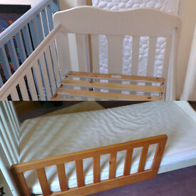 L@@K 4in1 John Lewis Lilliput Cot bed heavy duty with Rochingham GreenBear Eucalyptus Mattress White