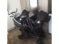 graco travel system twin pram with car seats and more