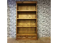 Large Solid Wood Rustic Bookcase with Bottom Drawers
