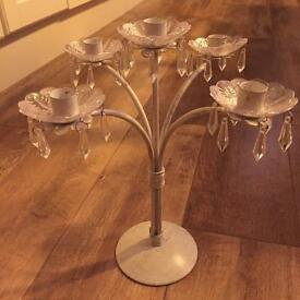 Large shabby chic cream metal candle holders