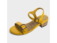 NEXT Yellow Cork Sandals Shoe Heel Autumn Holiday Beach Size 6 RRP £28