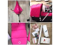 Bugaboo cameleon complete pink accessories set hood apron footmuff and parasol