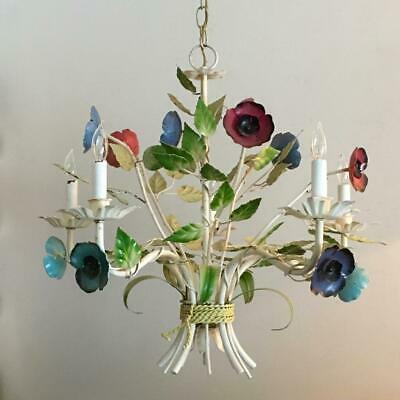 SHABBY VINTAGE CHIC ITALIAN METAL TOLE TOLEWARE FLOWERS CHANDELIER with LABEL