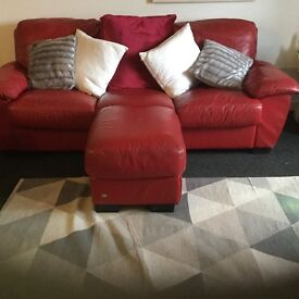 Red Italian 3 seater,2seater 1 seater with a footstool, its in great condition , very comfortable,