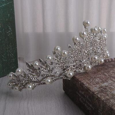 Wedding Bridal Crown Prom Tiara Jewelry Bride Pearl Rhinestone Hair Accessories - Bride Crown