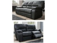 Luxor black real 100% leather 3+2 seater sofas**Free delivery**