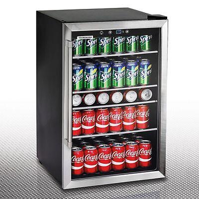 126 Can Stainless Steel Beverage Center, Glass Door Wine Beer, Soda Drink Fridge