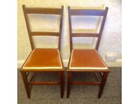 Bedroom Chairs x2 circa 1950s Well constructed with stylish inlay pattern on woodwork