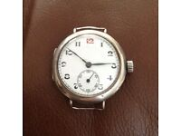 Solid Silver Ww1 Officers Watch Red 12